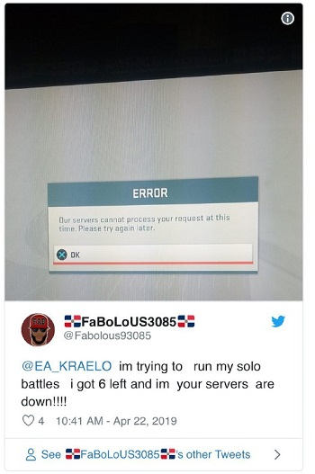 Updated] EA servers down (error code 100, 918, 721, 524