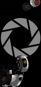 Galaxy-S10-cutout-portal-apperture-science-and-glados-wallpaper