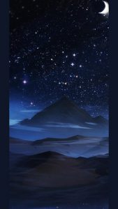 galaxy-s10-cutout-s10-Night-stars-and-a-shy-crescent-moon -wallpaper