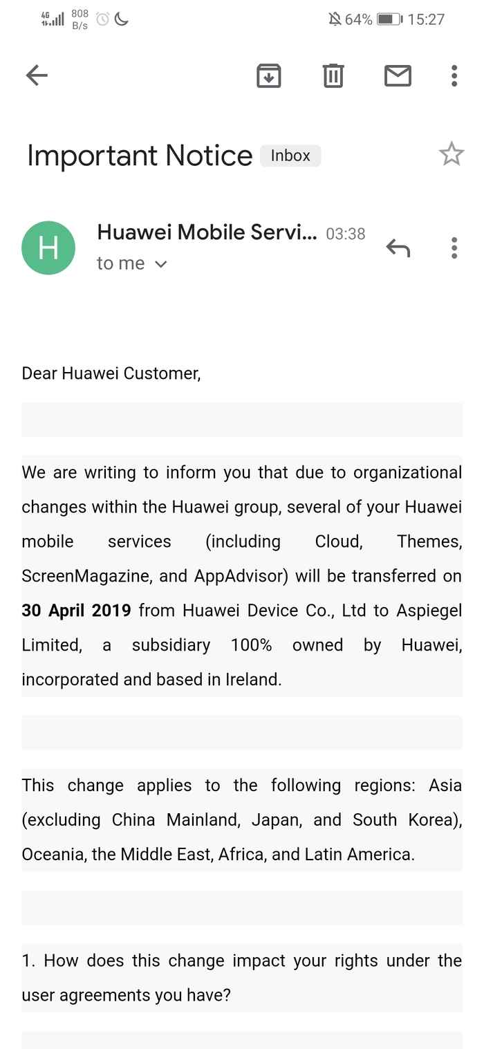 Huawei moving consumer data to Ireland - part of image