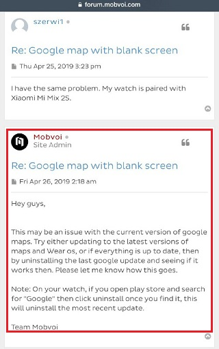 ticwatch-google-maps-issue-admin-response