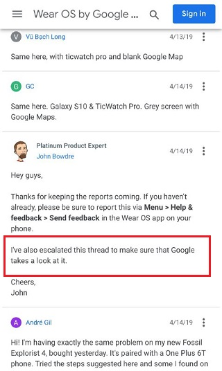 ticwatch-google-maps-issue-product-expert-response