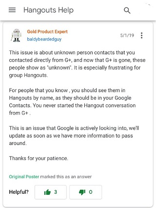 Hangouts video download issue on Android not fixed even after months