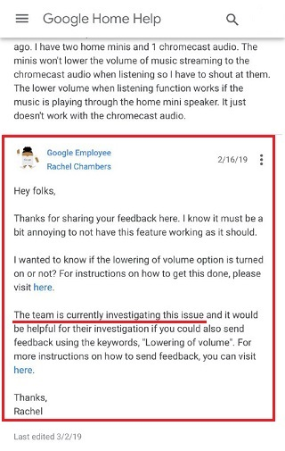 Issue with Google Home ability to lower volume when