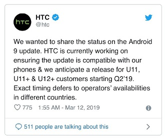 Rolls out in Europe & North America] HTC U11 Android Pie 9 0 update