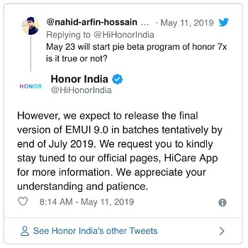 Honor-7X-pie-update-tweet3