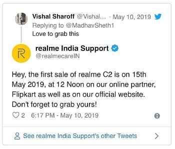 Realme-C2-firstSale-tweet