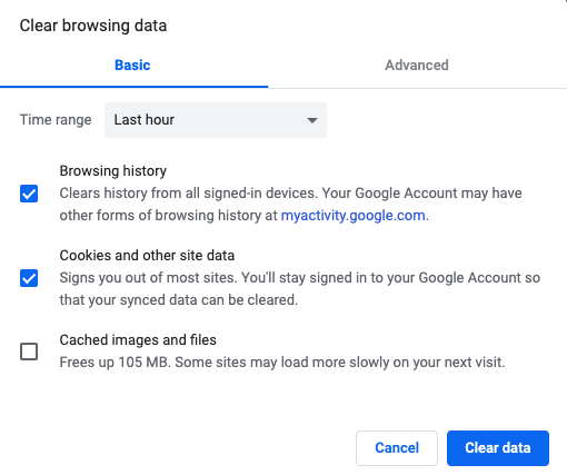 Google Chrome 'Clear Browsing Data' hangs or not working