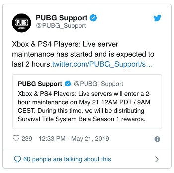 Aug 12 maintenance] PUBG down and not working on Xbox and PS4