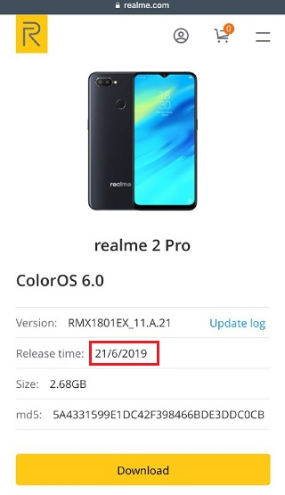 Realme 2 Pro ColorOS 6 (Android Pie 9 0) update now listed