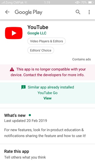 YouTube-app-not-compatible-notification
