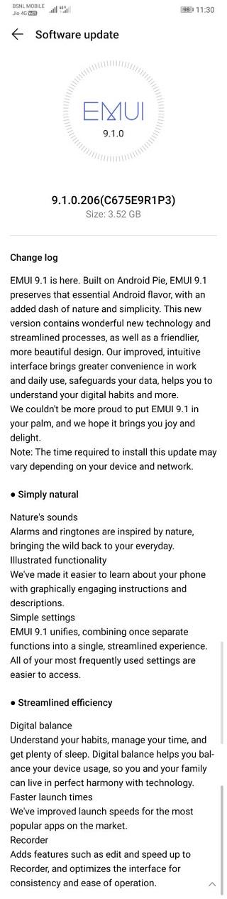 Huawei-P20-Lite-EMUI-9.1-complete-changelog