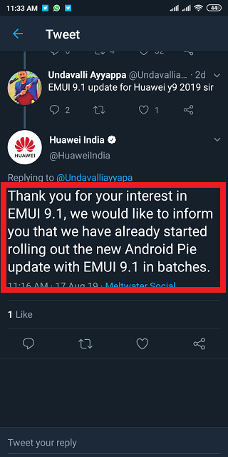 Huawei Y9 (2019) EMUI 9 1 update starts rolling out widely