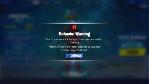 Fortnite Ban Warning