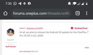 OnePlus 7 Pro EE Android 10 update