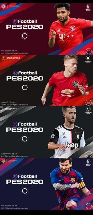 PES 2020 launch screens