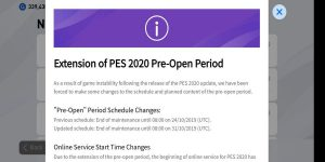 PES 2020 pre-open period extension