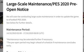 PES 2019 maintenance open notice