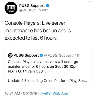 PUBG-maintenance-tweet