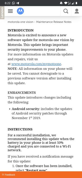 Motorola One Vision November security patch