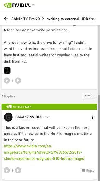 NVIDIA Shield TV Pro 2019 hdd error