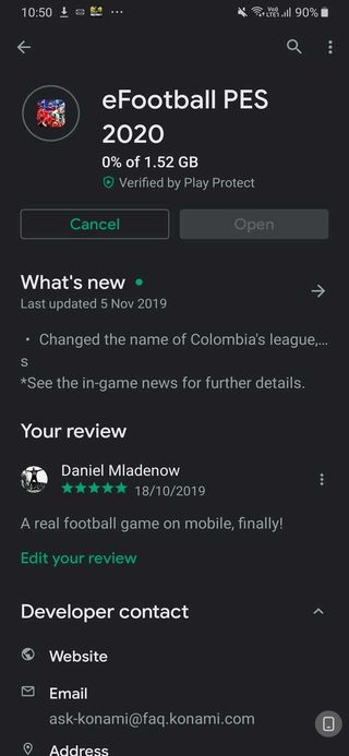 PES 2020 mobile update android