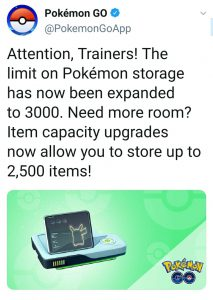 Pokemon Go Storage