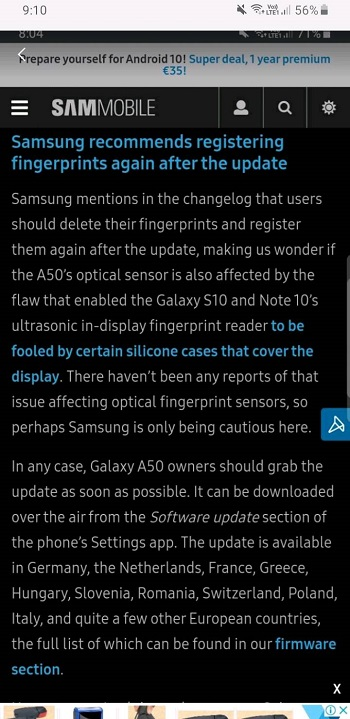fix fingerprint galaxy a50