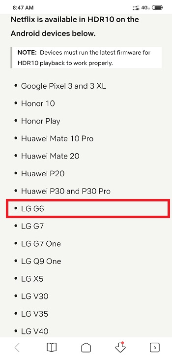 LG G6 is still listed on Netflix's HDR 10 support page