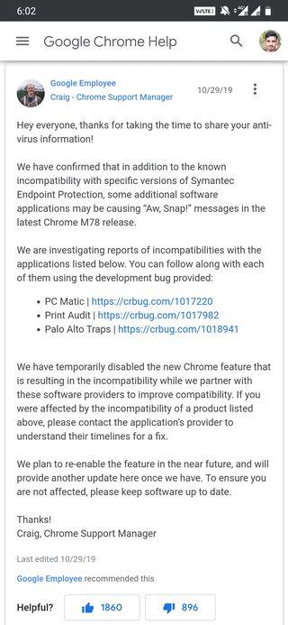 Google Chrome crashing support forum