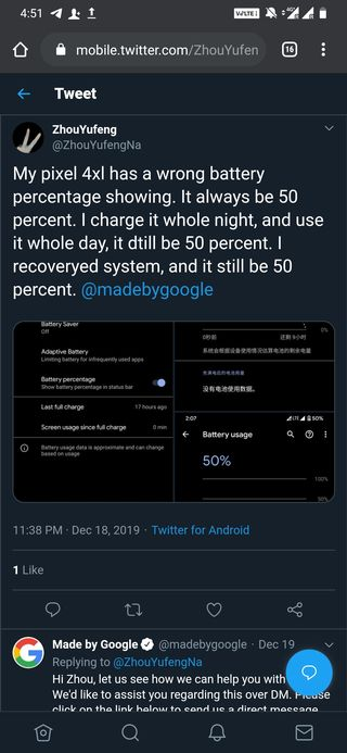 Pixel 4 battery stuck at 50%