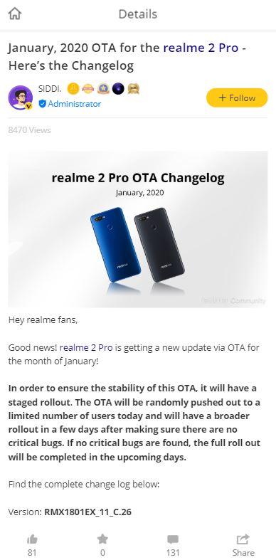 realme 2 pro update