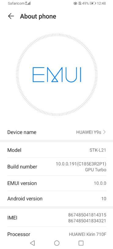 huawei y9s update