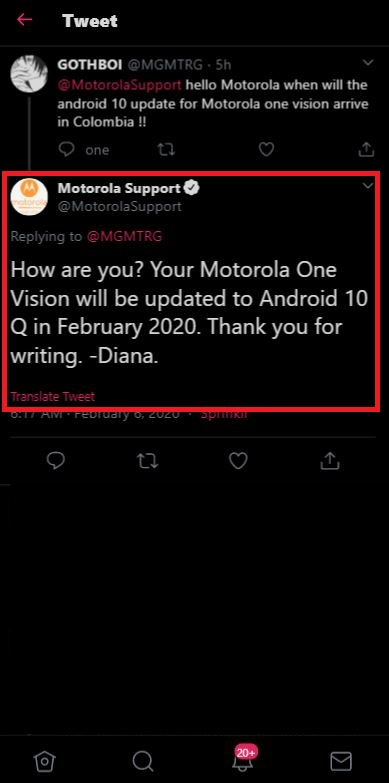 moto one vision android 10 tweet