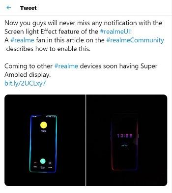 realme screen lighting tweet