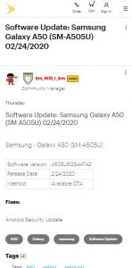 galaxy a50 feb update sprint