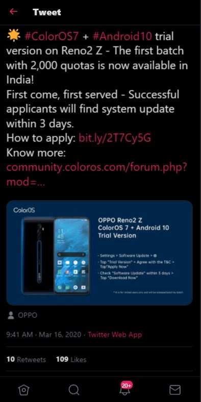 oppo reno2 z coloros 7 trial