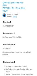Asus zenfone max m2 Indian update android 10