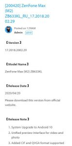 Asus zenfone max m2 Russian update android 10