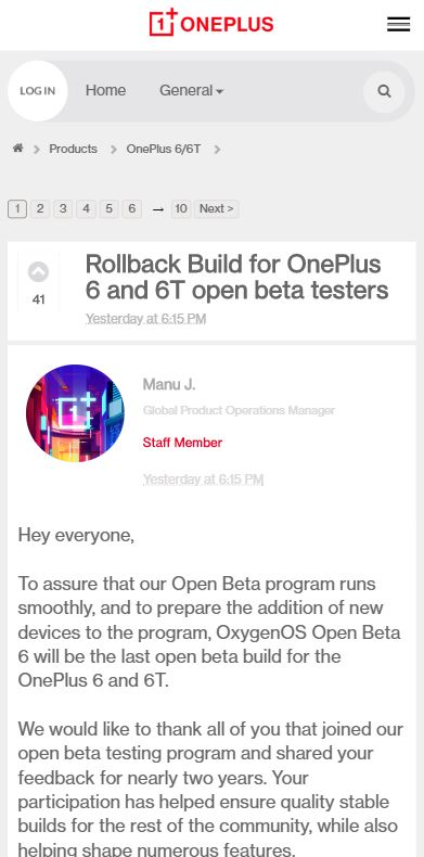 oneplus 6 and 6t rollback build