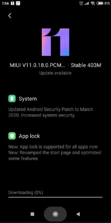 redmi 7a march update