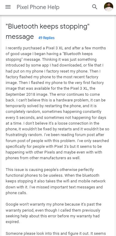 bluetooth issue google pixel 3 and 3 xl