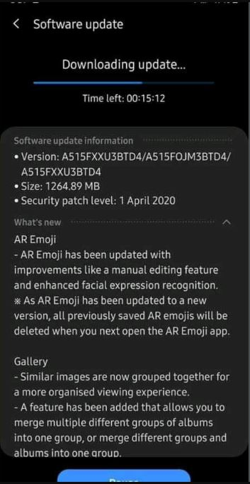 galaxy a51 one ui 2.1 update with april patch