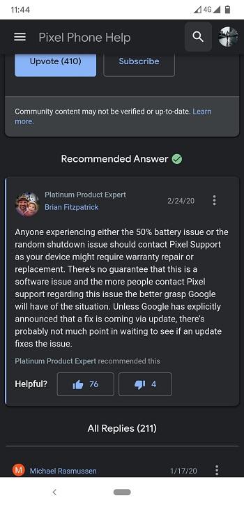 Pixel 4 issue