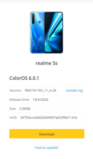 realme 5s may update