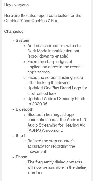corrected open beta 15-5 update changelog for oneplus 7 pro 7t