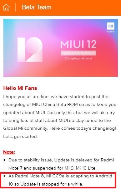 mi cc9 miui 12 beta halted