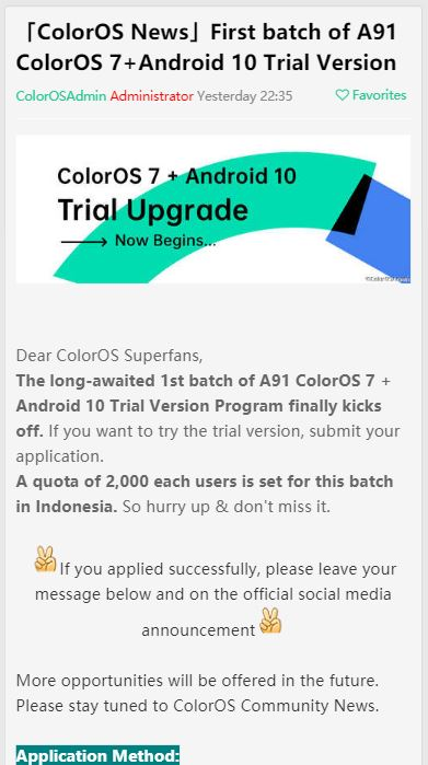 oppo a91 indonesia android 10 trial program