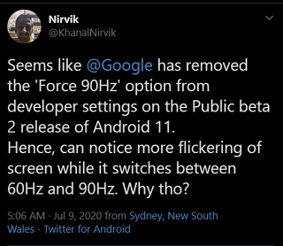 Google-Pixel-4-Android-11-beta-2-flickering-force-90hz-removed