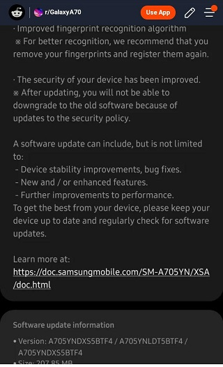 Samsung Galaxy A70 July OTA